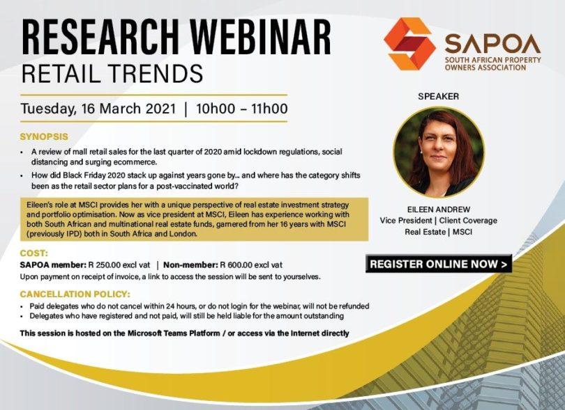 SAPOA Retail Trends webinar 16th March 2021
