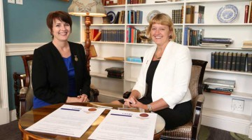 Professor Kathy Michell (left), president of the South African Council for the Quantity Surveying Profession and Louise Brooke-Smith, president of the Royal Institution of Chartered Surveyors, seen at the meeting in South Africa.