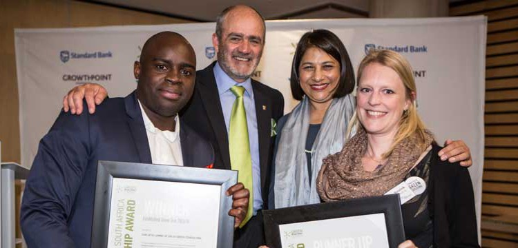 Chilu Lombe of Solid Green Consulting, left, with Brian Wilkinson, Green Building Council of South Africa (GBCSA) CEO; Faieda Jacobs, a GBCSA board member; and, Marloes Reinink of Solid Green, at Green Star Leadership Awards 2014. Solid Green won the Established Green Star Award.