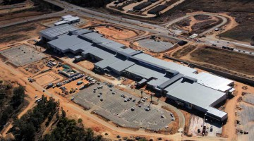 An aerial shot of construction on the new R600 million Heidelberg Mall, which spans 35,000sqm and will officially open on 23 October 2014.