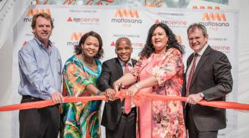 Cutting the ribbon to mark the opening of the super-regional Matlosana Mall were, from left; Jaco Odendaal of Abacus Asset Management; Executive Mayor of the Kenneth Kaunda District Municipality, Pinkie Moloi; Matlosana Mayor, Mike Khauoe; Wendy Nelson, North West MEC for Treasury and Enterprise Development; and, Redefine Properties Executive Director, Mike Ruttell; PICTURE: OneShot.co.za