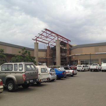 Final construction at an entrance to Paledi Mall in Limpopo, which is expanding to around 25,000sqm GLA and opens on October 30, 2014