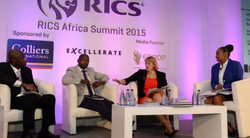 Louise Brooke-Smith (second from right), President of RICS, makes a point during a discussion at RICS Africa 2015 Summit.