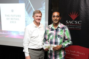 Rob Moran [JHI] and Dhanesh Reddy [Nedbank] winner of Crescent shopping voucher