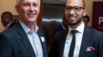 Shawn Theunissen, Head of Corporate Social Responsibility at Growthpoint Properties, with Norbert Sasse, CEO of Growthpoint Properties