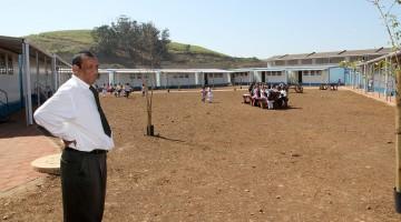 Kevin Sevlall, principal of Blackburn Primary School, surveys the new school premises
