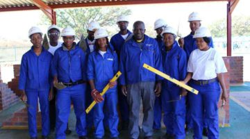 Delegates who participated in the first bricklaying training course held at the new Corobrik bricklaying training centre at its Lawley factory in Gauteng.