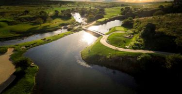 An aerial view over Steyn City's golf course.