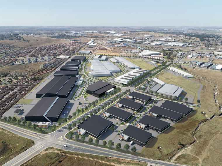 An aerial view of Sterling Industrial Park development in Centralpoint innovation district, Samrand.