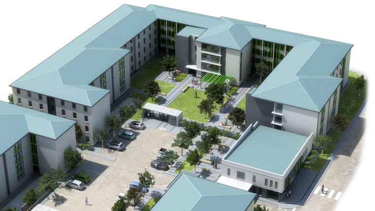 An artist's impression of the University of the Western Cape's student accommodation.