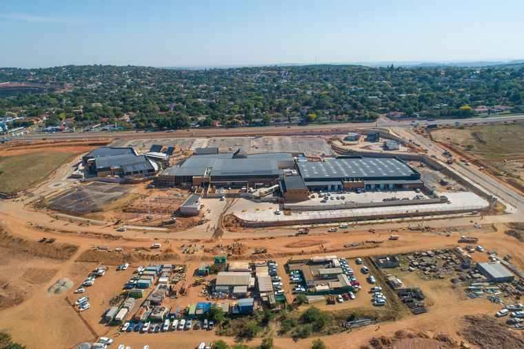 An aerial view of the of Castle Gate Lifestyle Centre development in Pretoria.