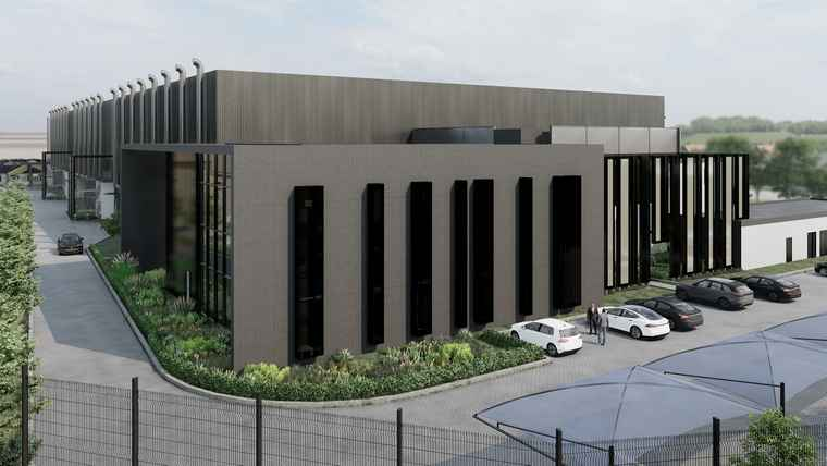 An architect's exterior perspective of the new NTT data centre at CentralPoint in Samrand.