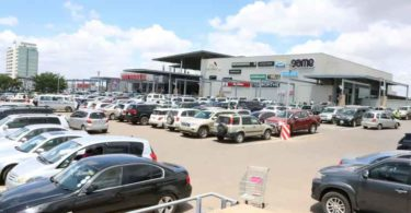 An external view of the Manda Hill Shopping Centre in Zambia.