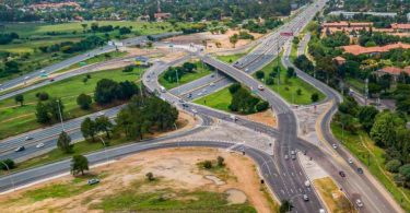 A aerial view of the upgrade to the M1 Highway Woodmead Interchange carried out by Growthpoint.