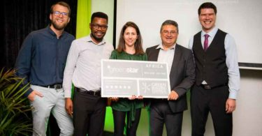 Hotel Verde accepts GBCSA Award. From left: Andre Harms, Ecolution Consulting, Pardon Mutasa, GBCSA, Georgina Smit, GBCSA, Mario Delicio, founder of Verde Hotels, Dawie Meiring, Systems & Sustainability Manager, Verde Hotels.