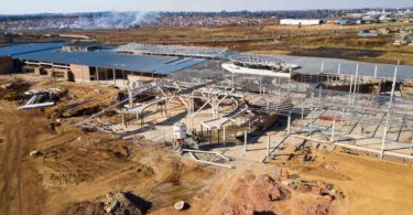 An aerial view of the Mall of Tembisa under construction.