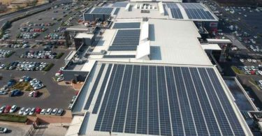 The rooftop solar panels at Springs Mall.