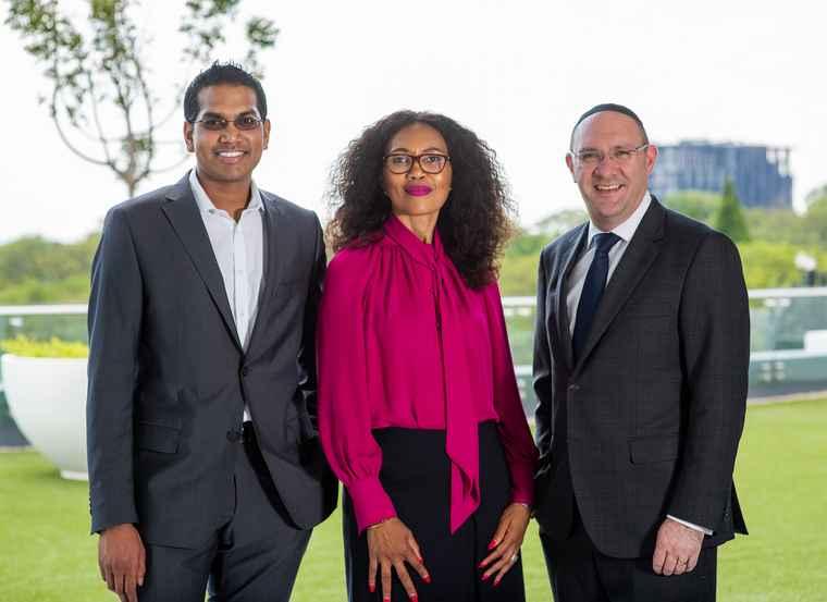 Sashen Nadioo, Sindi Mabaso-Koyana and Laurence Rapp