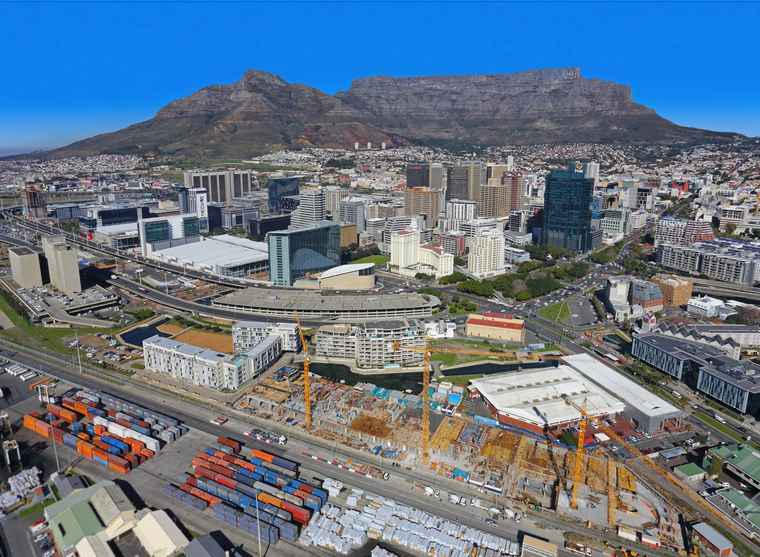 A aerial view of The Yacht Club construction site in Cape Town.