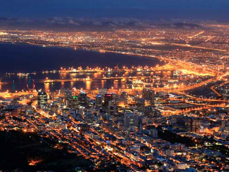 A view of Cape Town's city lights from Lions Head.