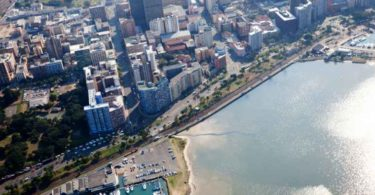 An aerial view of Durban's CBD.