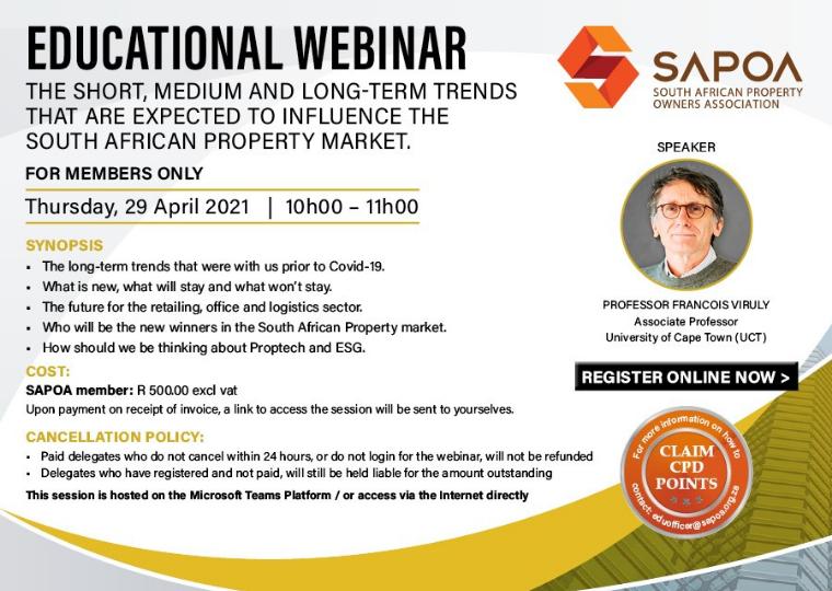 SAPOA educational webinar 29th April 2021