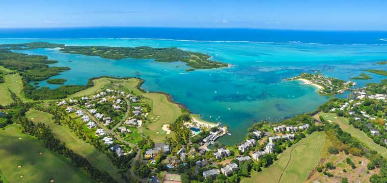 Aerial view of Anahita The Resort in Mauritius.