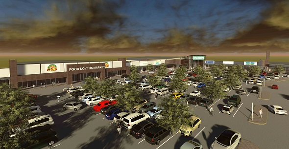 Artist perspective of Sunward Park shopping centre