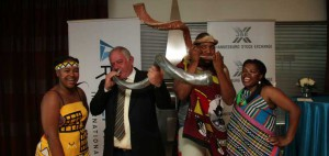 Redefine CEO Marc Wainer blowing the kudu horn