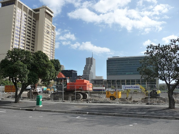 Demolition work under way on site for the Chris Barnard hospital complex.