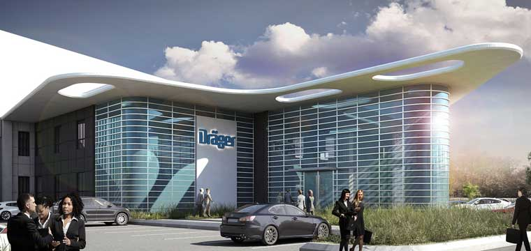 Artist impression of the new facility for Dräger South Africa at the Waterfall Commercial District at Waterfall Business Estate, Gauteng