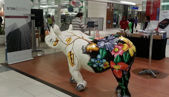 The Greeff Rhino is a life-size resin model and has been designed by My Rhino and hand decorated by artist Clement Mkhize. Image: Property Wheel, at Blue Route Mall