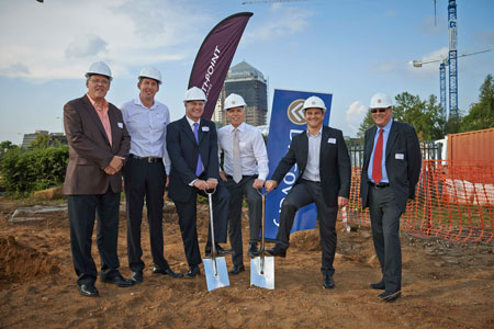 At the official sod turning ceremony (24 February 2014) for the new Discovery global head office in Sandton. Standing Left to Right: Rudolf Pienaar – Growthpoint; James Tannenberger – Zenprop Property Holdings; Estienne de Klerk – Growthpoint; Adrian Gore – Discovery; Barry Swartzberg – Discovery and John Robertson – Discovery