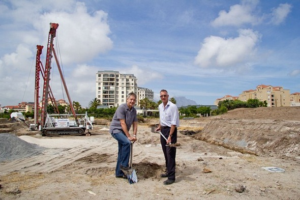 (LtR) Colin Green, Director of Rabie Property Group, and Nick McKinley, Director of WBHO, on site where construction has started on Palm Royale