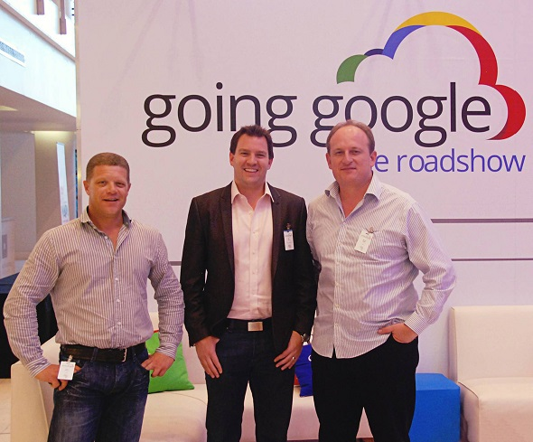 From left to right : Deon Basson (RED-i), Neil Gyte (Enterprise Geo Lead - Emerging Markets at Google) and Werner Stadler (RED-i) at the Going Google Road Show.