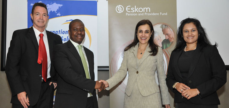 From L to R;  Rob Wesselo of IHS, Sibusiso Luthuli, CEO Eskom Pension and Provident Fund, Soula Proxenos, Managing Partner of IHS, Fagmeedah Petersen-Lurie, CIO of Eskom Pension  and Provident Fund