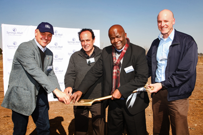 Turning the ceremonial first sod of soil marking the start of construction on the new R850 million Springs Mall at Blue Crane Eco Park were, from left, Nicky Giuricich, Jack D'Arrigo, Mondli Gungubele, Executive Mayor of the Ekurhuleni Metropolitan Municipality, and, Paul Gerard.