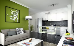 "An artist's impression of the interior of an apartment at ""The Acorns""."