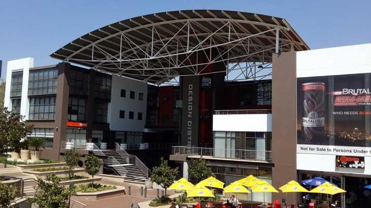 Refurbished exterior of the 'Design District' in Rosebank