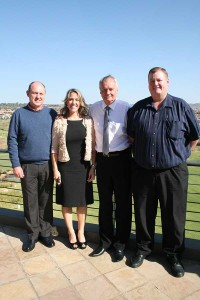 Johan Kruger (Pecanwood) is on the left and Boet Grobler (Cedar Lakes) is on the extreme right. They are pictured with Dawn Bauman, the senior Vice President of the USA's Community Association Institute (CAI), and ARC President Jeff Gilmour (second from right).