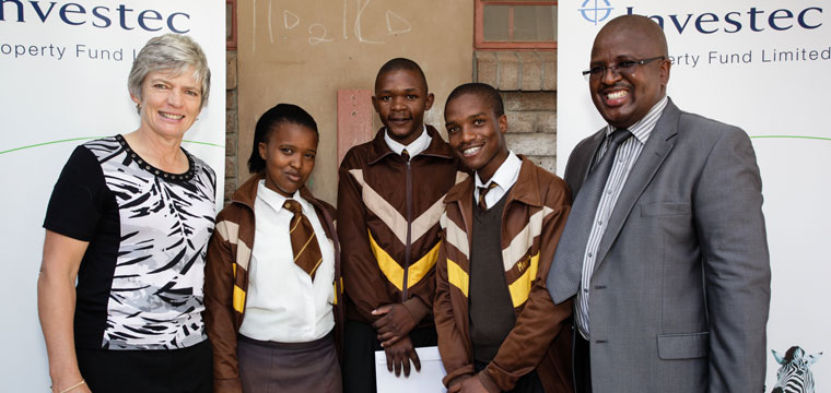 From left to right: Laetitia Steynberg (Investec Propety Fund), Sinazo Noto (Masiyile Secondary School), John Hlangu (Masiyile Secondary School)