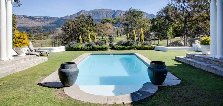 The view from the patio of a home in Lower Constantia with four bedrooms and three bathrooms, which is priced at R8,9 million.