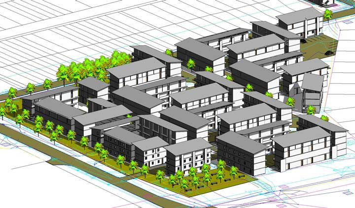 Aerial perspective of the envisioned Langa-units and basic plan layout