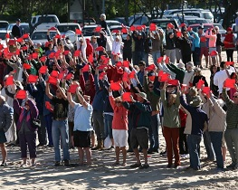 SEEING RED: Locals and visiting Plett lovers rocked up in droves to protest against the proposed harbour development.  Photo: Ewald Stander