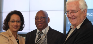 Zeona Jacobs, Director, Issuer and Investor Relation of the JSE, Dr. Molupe Tsolo, Chairman and Francois Marais (CEO) of Safari Investments