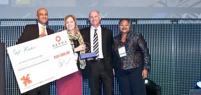 Winner Property News Journalist of the year Neil Gopal; Joan Muller [Business Day];Estienne de Klerk and Nomzamo Radebe [JHI]