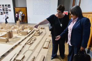 TCT Commissioner, Melissa Whitehead showing Mayor De Lille one of the displays